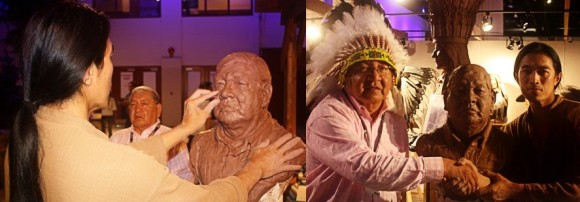 Sunti sculpts Gerald Sitting Eagle, Siksika (Blackfoot) Nation, in only 18 minutes at the Calgary Stampede.